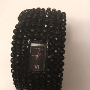 Betsey Johnson Black on Black Beaded Watch